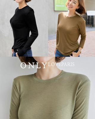 [러패독점]포인 베이직 라운드 티셔츠(3color) 브라운,카키,블랙