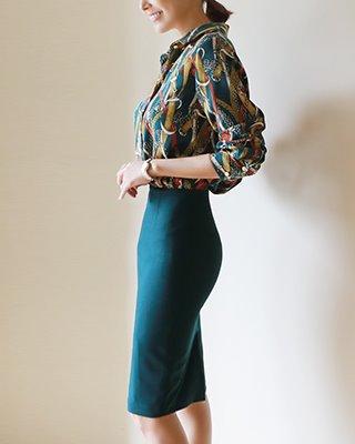 [연예인 협찬] 이소연[후기277개] (딥블루그린) 레오 베이직 H스커트(55/66/77 size)