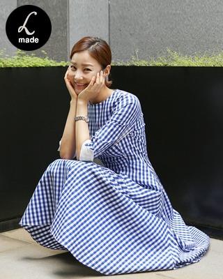 [러패제작-blue][후기125개] 마로니 플레어 체크원피스