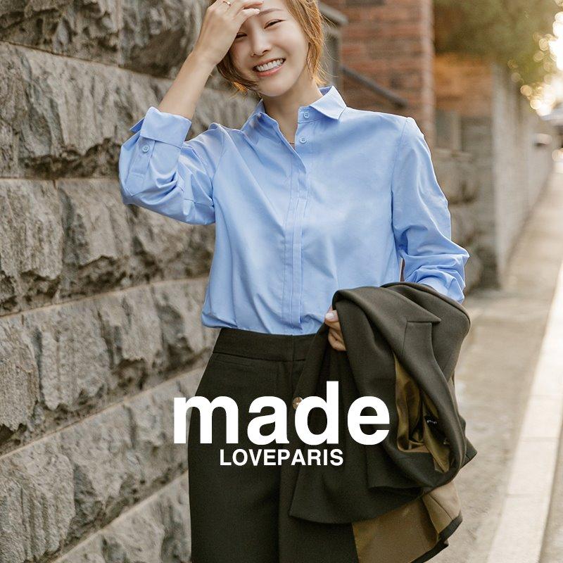 [방송협찬][러패제작]드레인 히든 베이직셔츠(3color) 화이트,블루,블랙