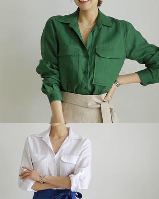 [후기119개]ⓡ데니스 롤업 린넨셔츠(2color) 화이트,그린