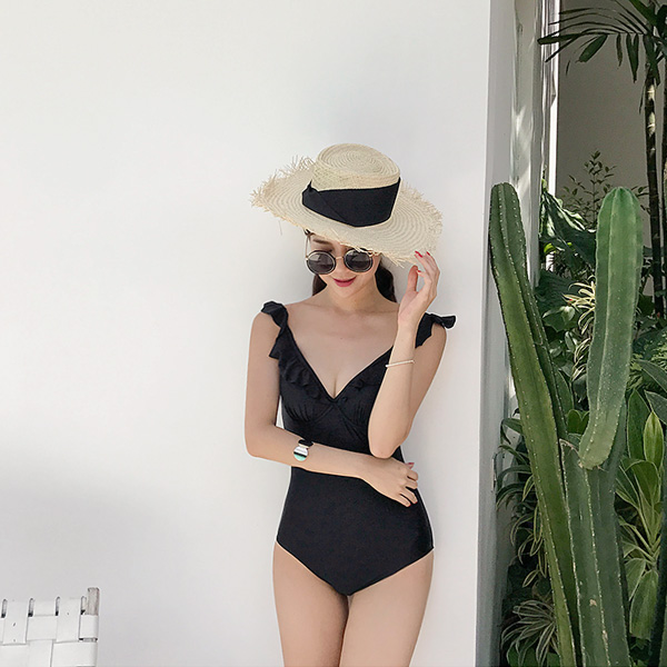 Frill Trim Solid Tone Swimsuit