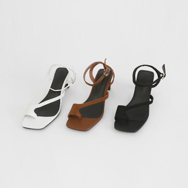 質感絨面釦帶套趾中跟涼鞋