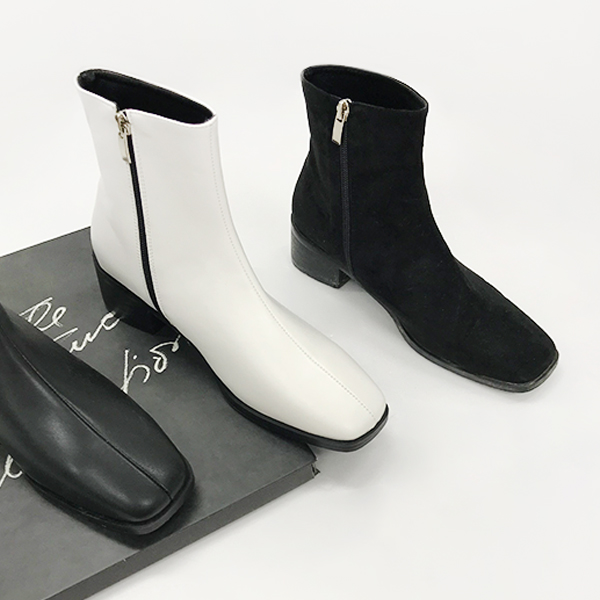 Square Toe Back Zipper Ankle Boots