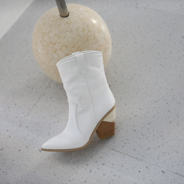 Stacked Heel Pointed Toe Boots