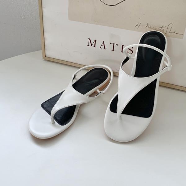 三角鞋面平底夾腳涼鞋