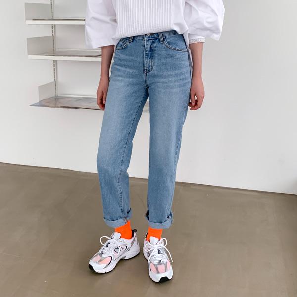 Straight Cut Whiskered Denim Pants
