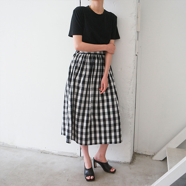 Gingham Check Midi Skirt