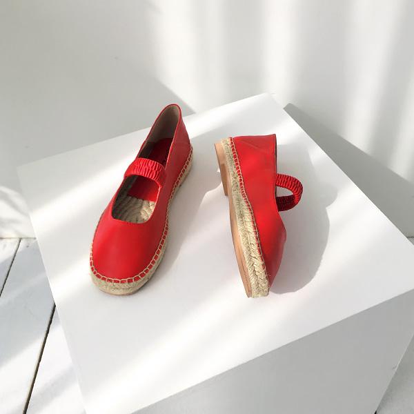 可後踩設計鬆緊橫帶平底鞋