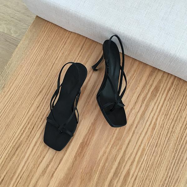 Slim Strap Square Toe Heels