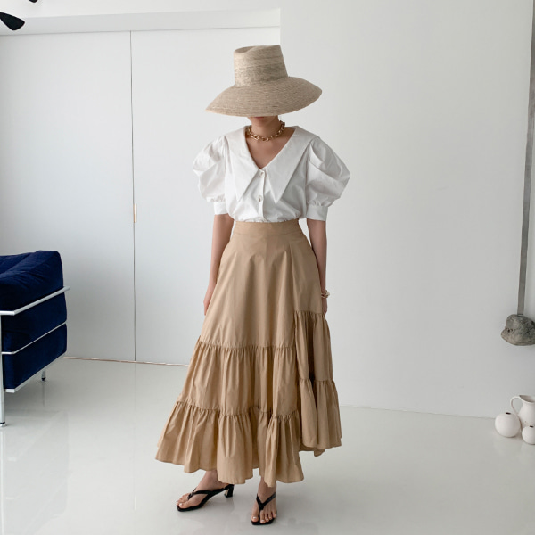 Asymmetrical Tiered Long Skirt