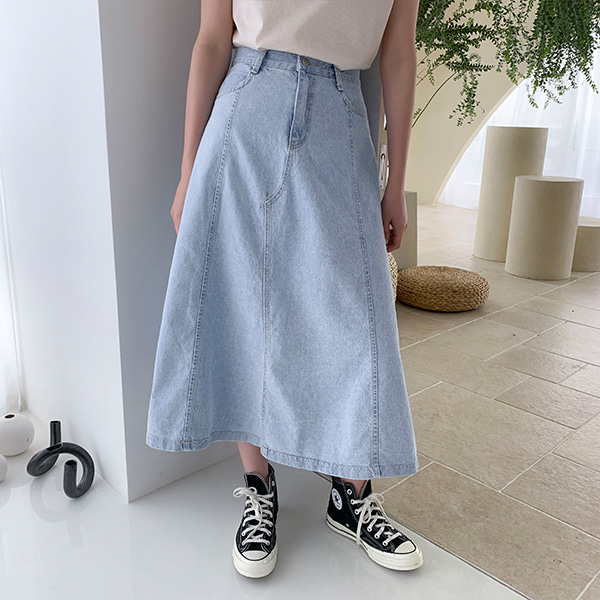 Long A-Line Denim Skirt