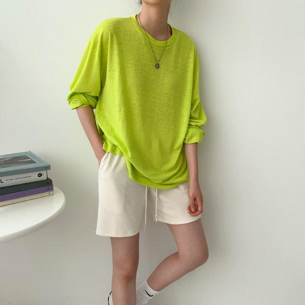 Extended Sleeve Solid Color Loose T-Shirt