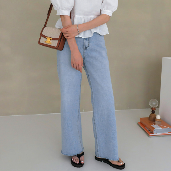 Frayed Hem Straight Wide Leg Jeans