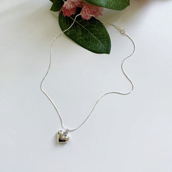 Heart Pendant Cobra Link Chain Necklace