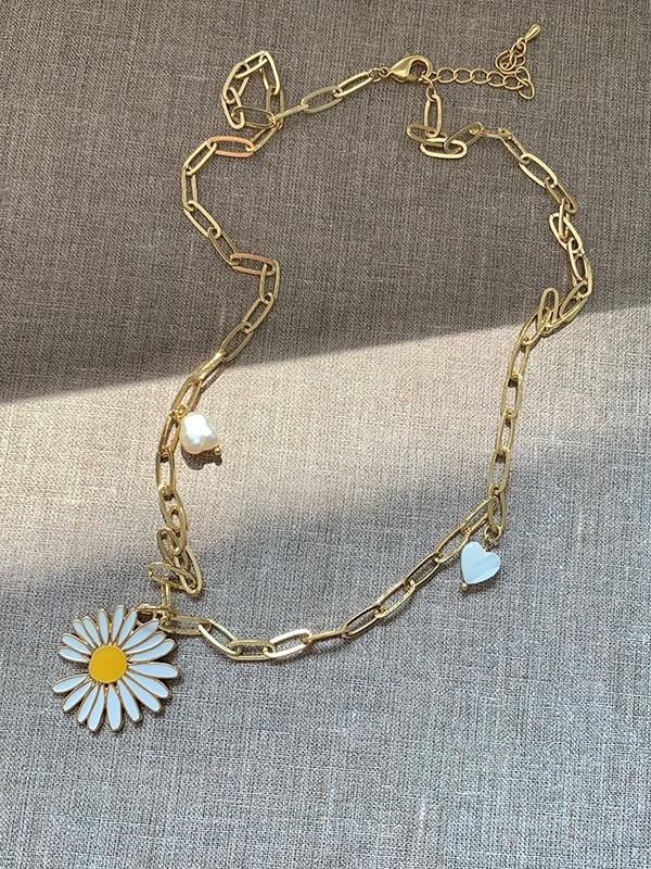 珍珠愛心小雛菊綴飾項鍊