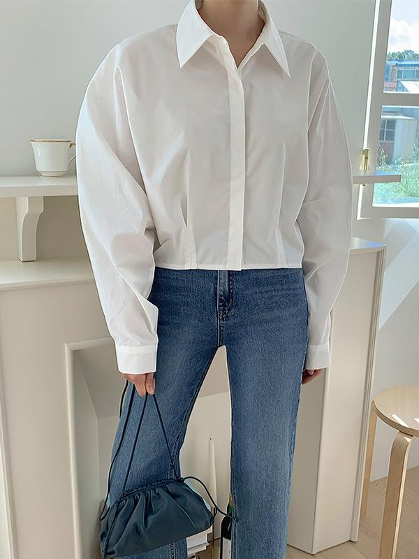 Spread Collar Cropped Boxy Shirt