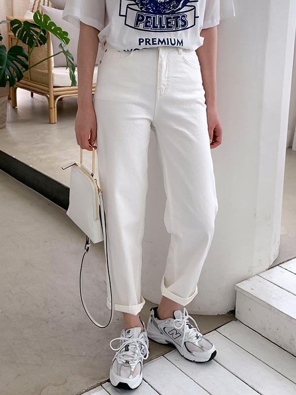 復古高腰寬版單色棉褲