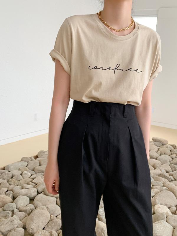 草寫印字圓領純棉短袖T恤