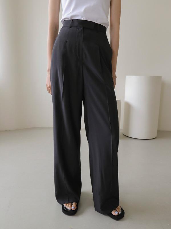 百搭高腰燙線寬版西裝褲