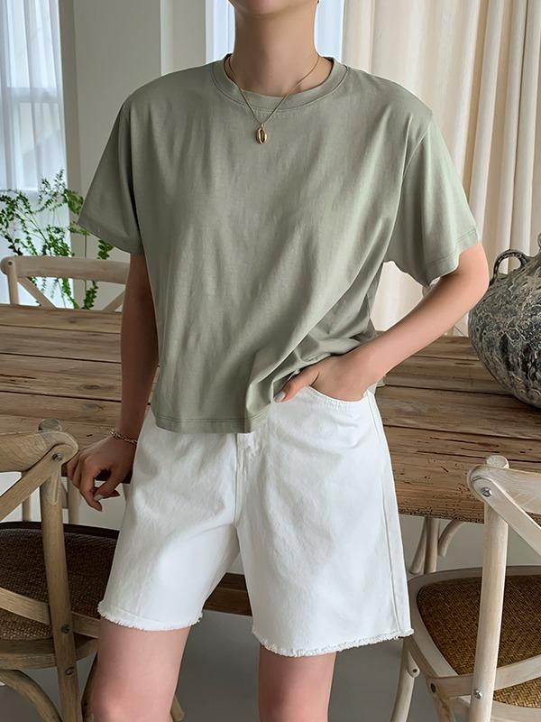 天絲混紡圓領純色短袖T恤