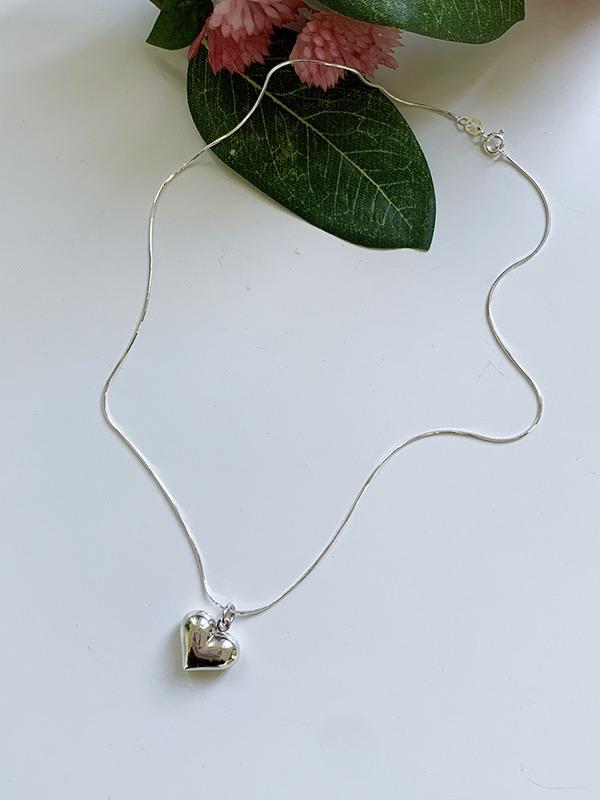 立體小愛心綴飾銀色項鍊