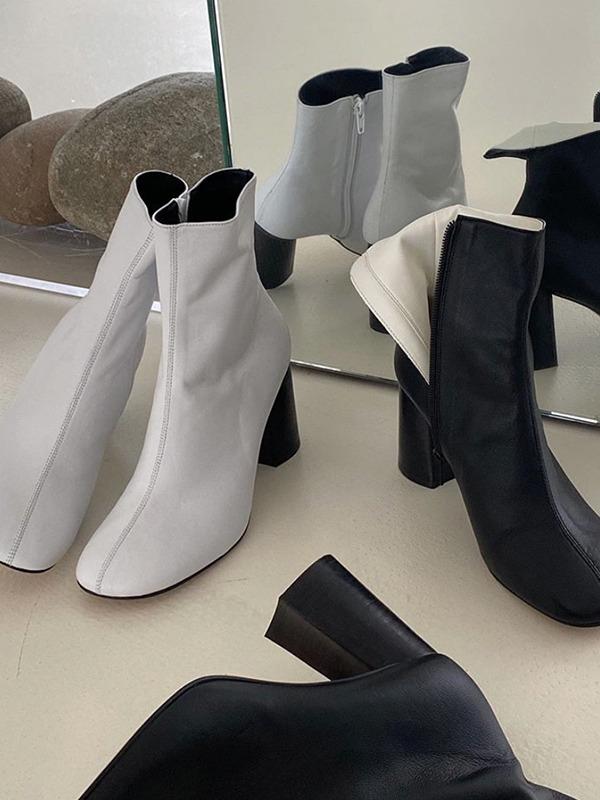 侧拉链拼接鞋面粗跟踝靴