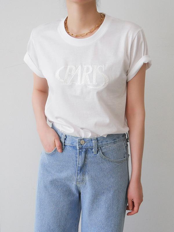 PARIS繡字圓領純棉短袖T恤