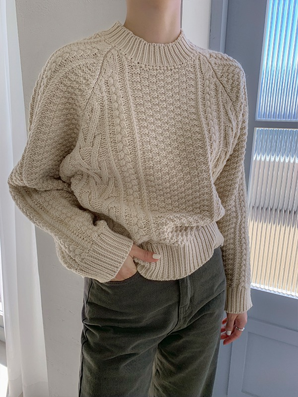 Mock Neck Chunky Knit Sweater