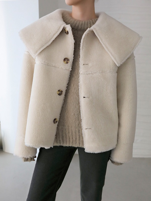 Wide Collar Reversible Faux Shearling Jacket