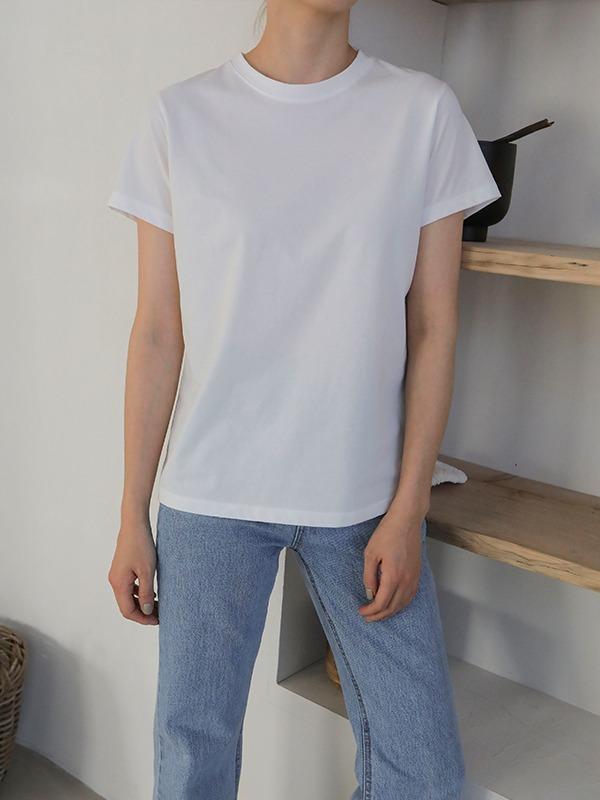 シンプルラウンドネック半袖Tシャツ
