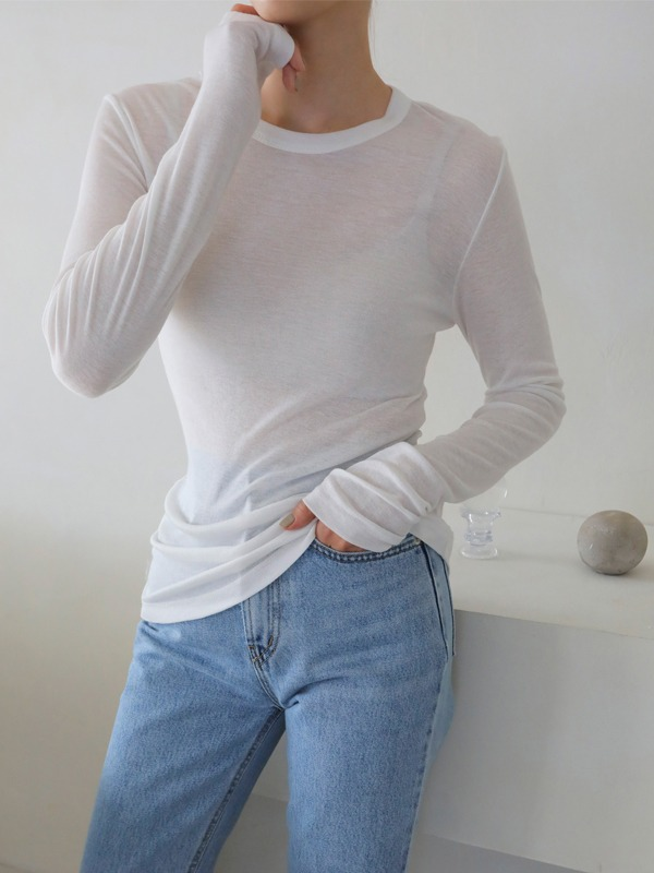 Sheer Extended Sleeve T-Shirt