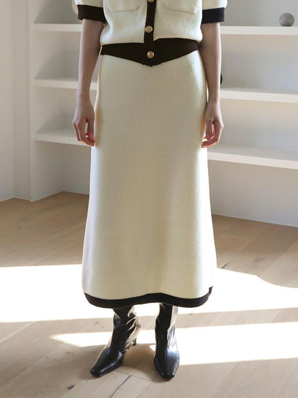 Contrast Trim Knit Skirt
