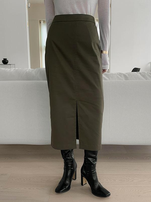 高腰开衩摆纯色半身裙