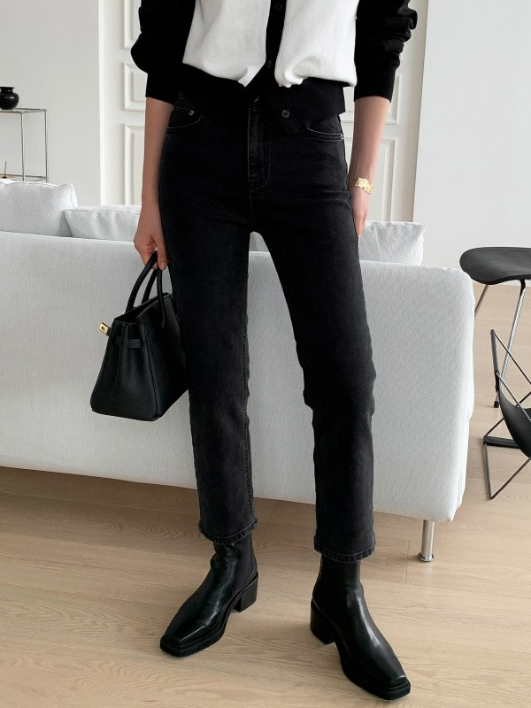 Tapered Cropped Black Denim Pants