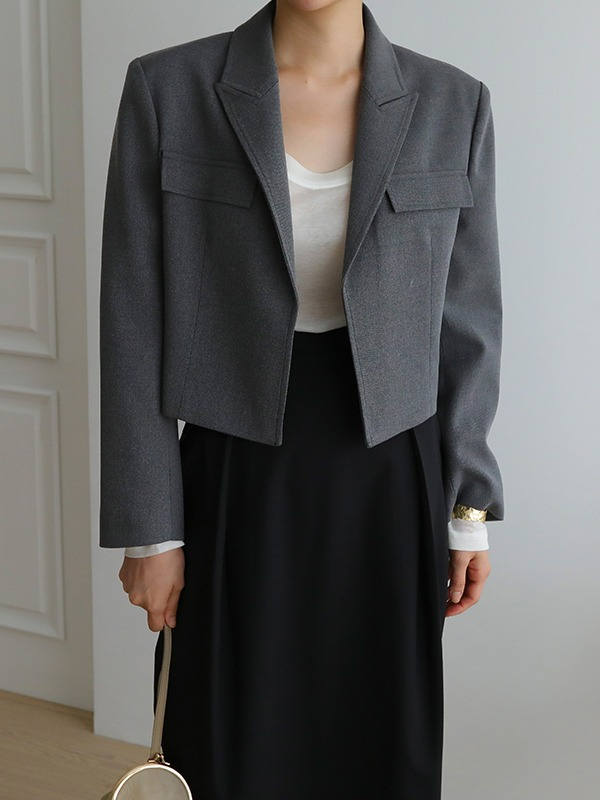 Peak Lapel Boxy Cropped Jacket