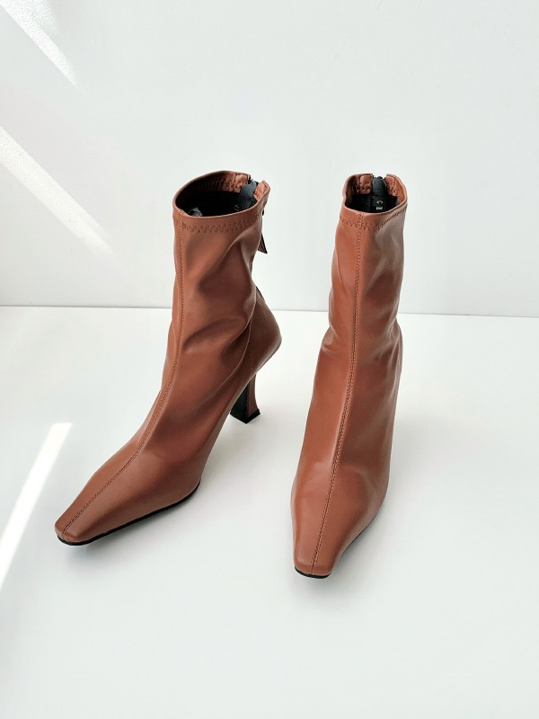 Snip Toe Back Zipper High Heel Boots