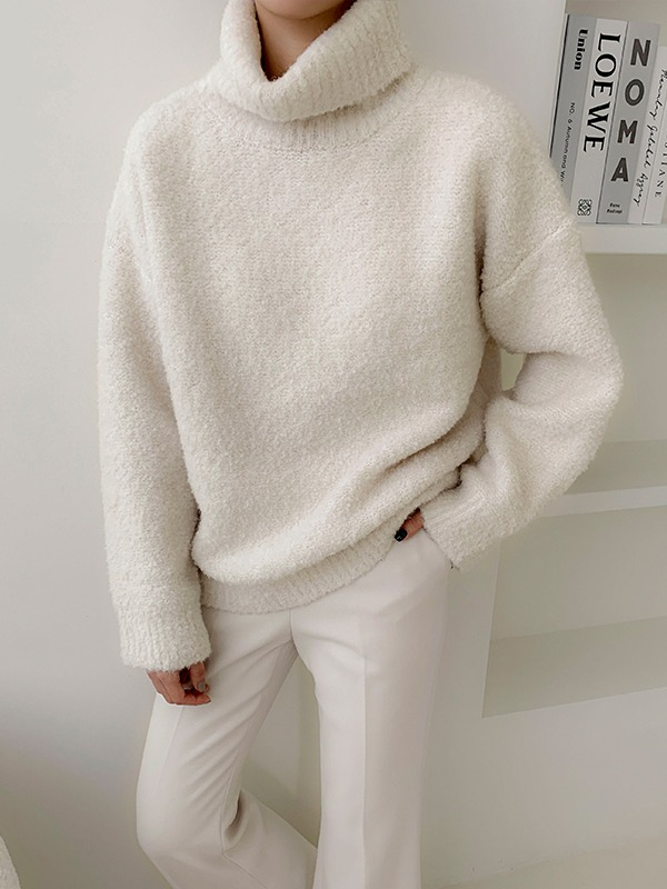 Funnel Neck Ribbed Edge Sweater