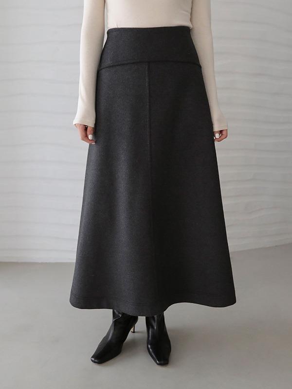 Woolen A-Line Long Skirt