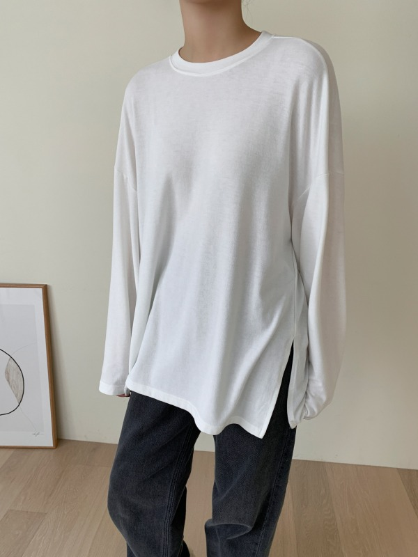 Drop Shoulder Side Slit T-Shirt