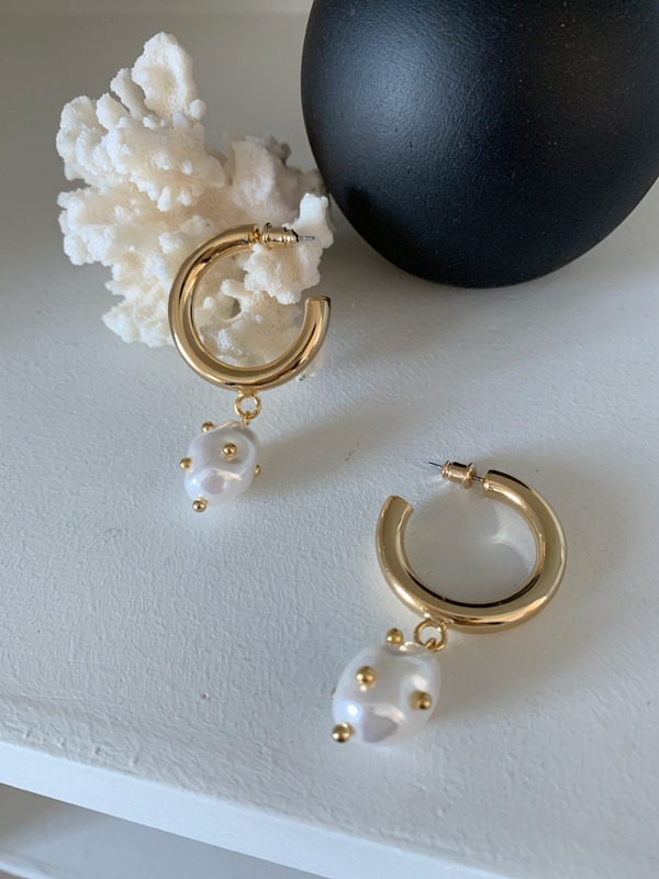 Studded Mock Pearl Open Hoop Earrings