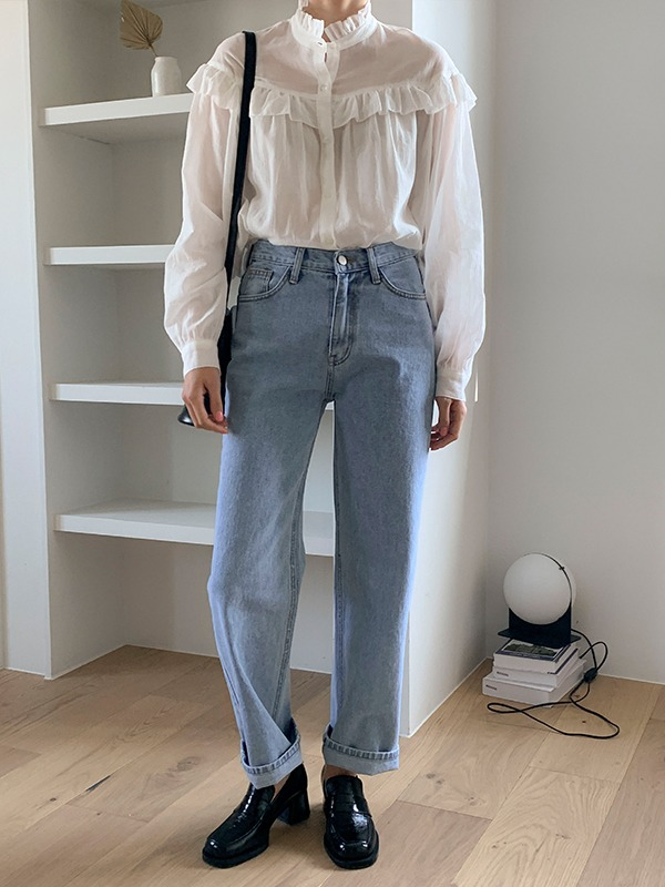 Straight Cut Basic Loose Jeans