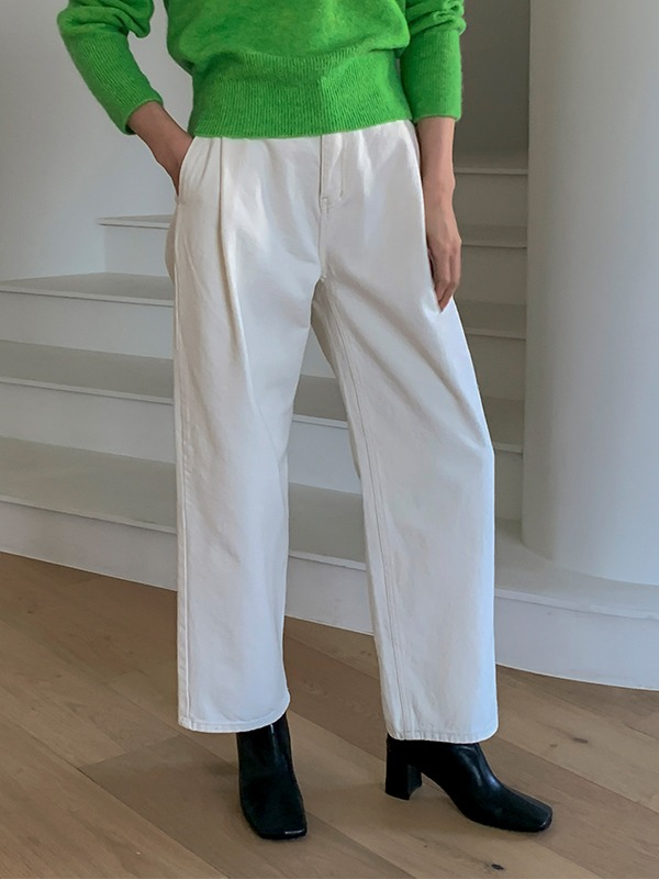 Pleat Accent Wide Leg High-Rise Pants