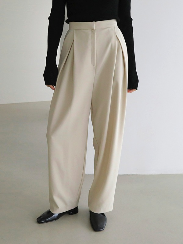Inverted Pleat Wide Leg Slacks