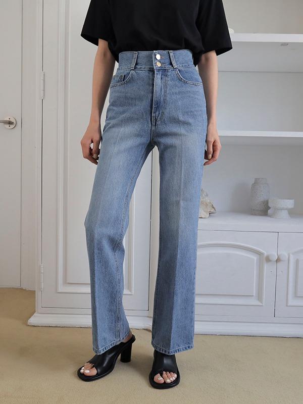 High Waist Double Button Jeans