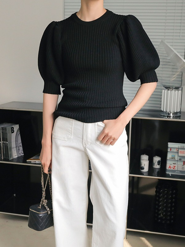 Ribbed Puff Sleeve Knit Top