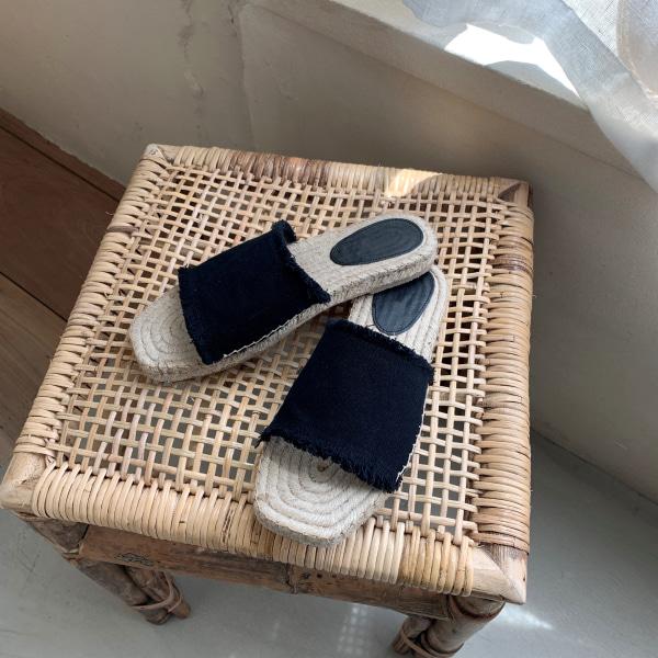 流蘇寬帶造型編織感拖鞋