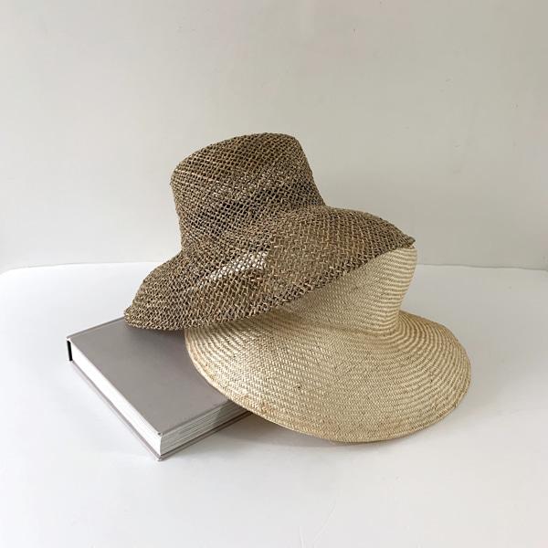 净版宽檐编织感遮阳帽