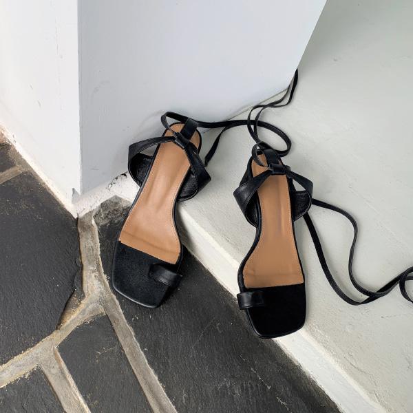 套趾造型後綁帶粗跟涼鞋