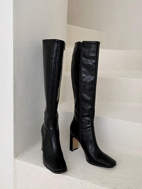 個性女郎側拉鍊高跟長靴